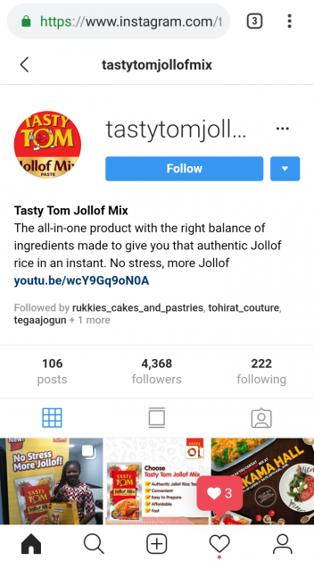 Tasty tom jollof mix